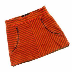 Zara Trafaluc Orange & Brown Striped Skirt | M